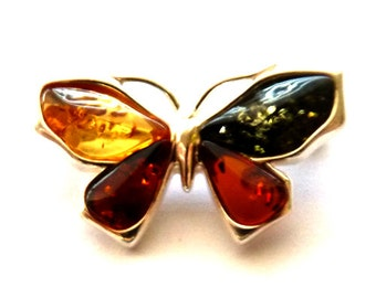 Baltic Amber Jewelry Butterfly Pin Brooch Multicolor 925 Silver