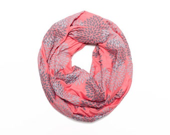 INFINITY SCARF - Screen Printed - Gray Flowers on Coral
