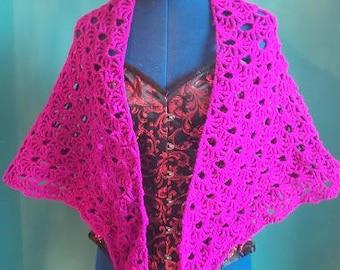 Large Magenta/hot pink Crochet Shawl/Wrap