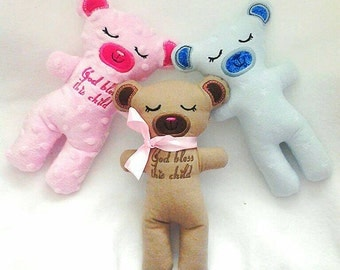 Custom personalized name God bless this child soft cuddly stuffed teddy bear