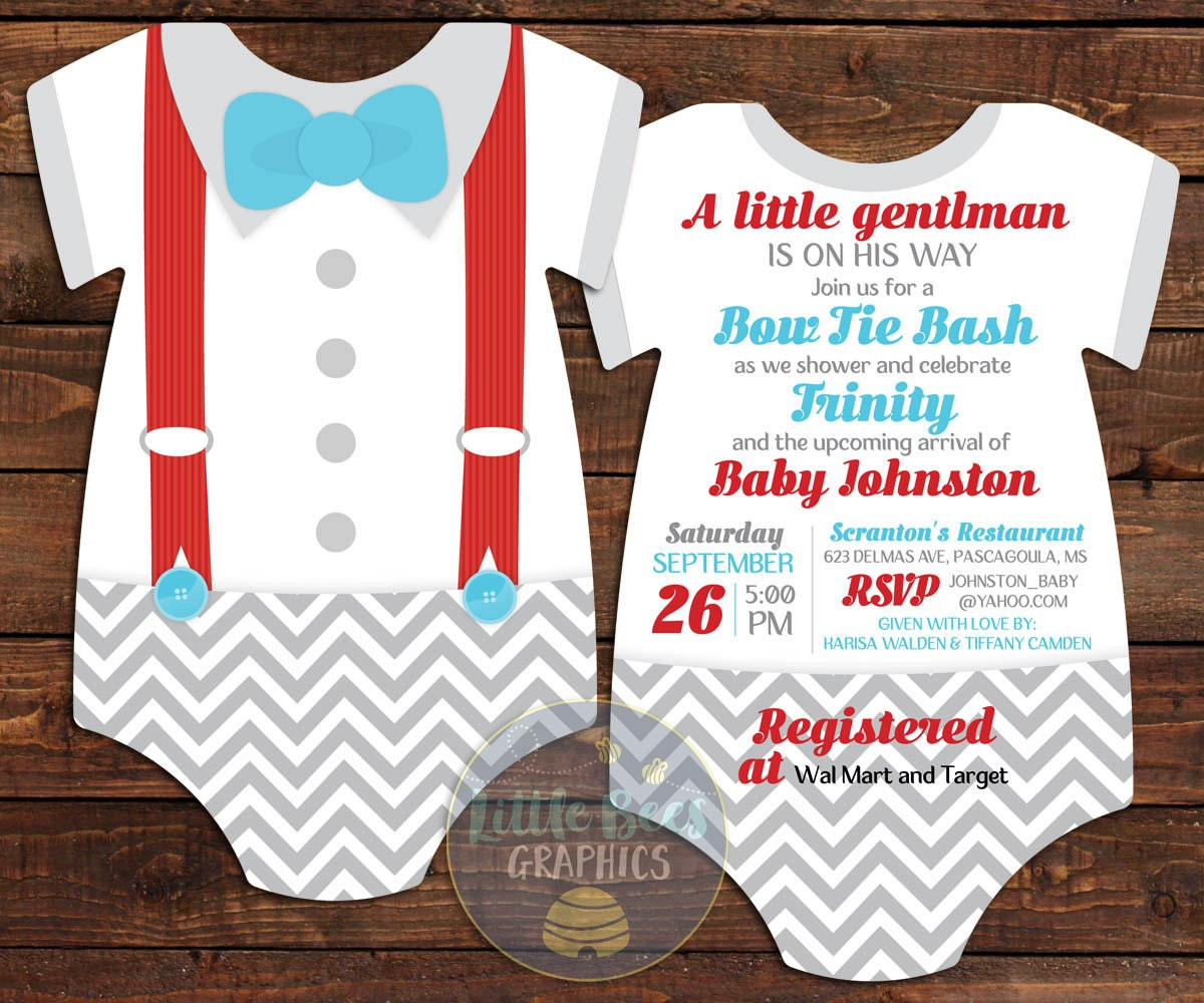 Mustache And Bow Tie Baby Shower Invitations Part - 22: ?zoom