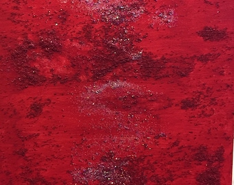 Red Textured Original Abstract Art Acrylic Painting - Wall Mountable