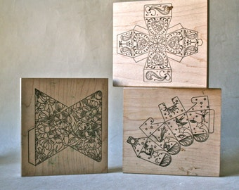 Rubber Stamp Blocks to Create Tiny Gift or Favor Boxes
