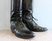 VINTAGE Black Leather Tall Riding Boots Equestrian Horse Riding Lace Up Leather Sole Women's Size 9 USA