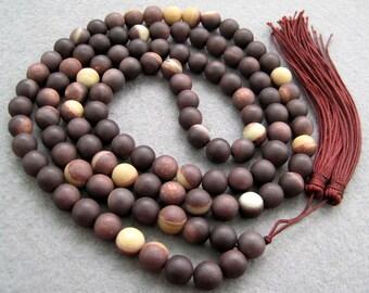 8mm Stone Tibetan Buddhist Prayer Beads Mala Necklace ZZ028