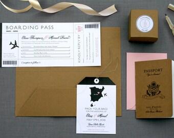 Destination Wedding Invitation / Passport Booklet / Pocket Travel Wallet / Luggage Tag Enclosure Card