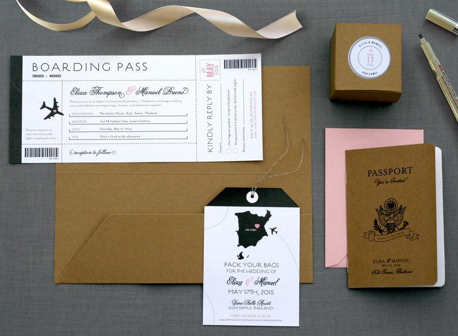 Destination Wedding Invitations Passport: Destination Wedding Invitation / Passport Booklet / Pocket