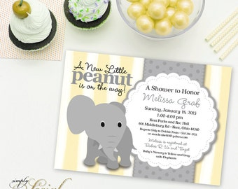Elephant Baby Shower Invitation Yellow Stripe and Grey Little Peanut Printable Gender Neutral