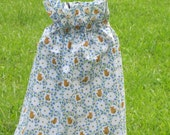 "Girls' Ruffle Neck Dress - Teddy Bears and Flowers Print - 17"" Long Including 3"" Ruffle OR Custom Made - Other Patterns Available"