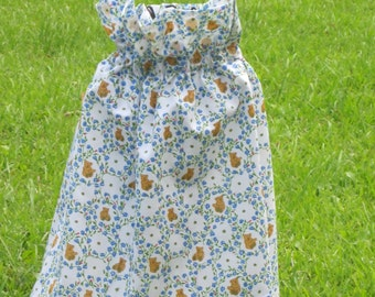 "Girls' Ruffle Neck Dress - Teddy Bears and Flowers Print - 17"" Long Including 3"" Ruffle - Other Patterns Available"