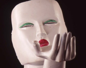 empty promises mask and hand narrative sculpture female mask fine avant garde art contemporary art
