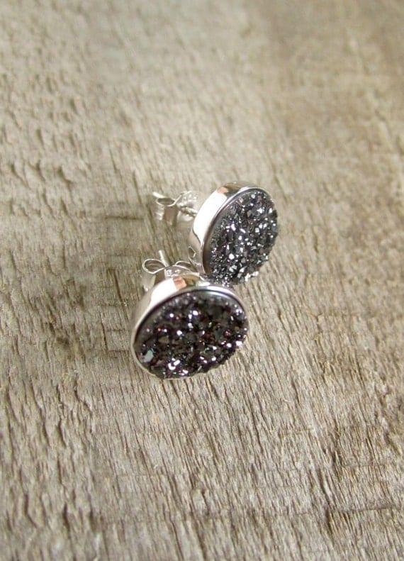 Black Druzy Stud Earrings Drusy Quartz Rhodium Plated Sterling Silver