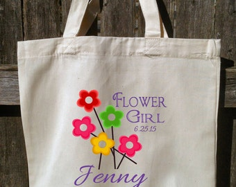 Wedding Party Tote Bags, Bridesmaid Wedding Bags, Cotton Totes, Flower Girl, 13x13x3 With Gusset