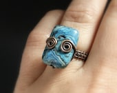 Blue agate ring, blue stone ring, rustic copper jewelry, sea inspired healing stone ring, size 6