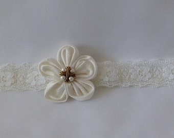 First Holy Communion Headband, Handmade, Ivory Silk Flower with Cross, Ready to Ship