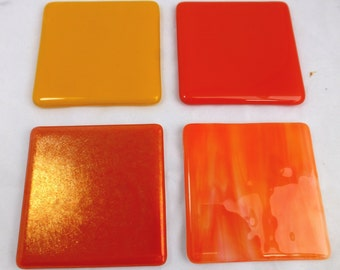 Bright Fused Glass Coasters in Sunshine Orange and Yellow - set of 4
