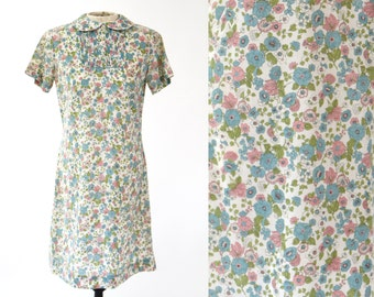 Vintage 1950s 60s Floral Day Dress with Peter Pan Collar — Size Sm/XS