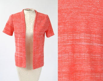 Vintage 1970s Coral Neon Orange Open Space Dyed Knit Cardigan Sweater Small