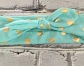 Boutique Baby Top Knot Aqua and Gold Polka Dot Headband Top knot Headband White and Gold Turban Headband Twisted Knot Headband