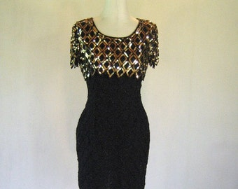 Black & Gold Diamond Fitted Wiggle Dress