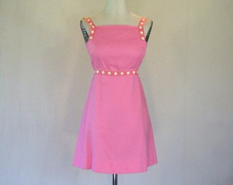 1960s Pink Summer Mini Dress Small