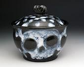 Skull Sugar Bowl, Ghost Skulls & Crossbones Sugar Bowl, Skull Jar