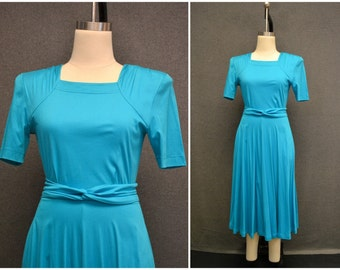 1980s Turquoise Knit Dress