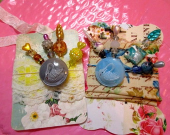 Divine Antique CZECH Art Glass BUTTON on Stick, Gift, Corsage, Trinket Decorated Pins, Shabby Chic Fabric Printed Tags/CARDS (1)