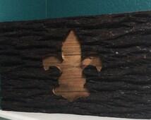 Reclaimed wood wall decor; reused tree bark decor; fleur de lis artwork
