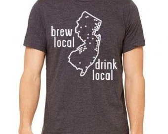 New Jersey Shirt, Brew Local Drink Local New Jersey Craft Beer Brewery Map T-shirt, Great for Beer Festivals