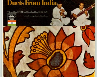 Indian Sitar Music. Duets from India, Vilayat Kan on Sitar, Bismillah Khan on Shehnai, Shantra Prasad on Tabla Vintage Vinyl Record Album