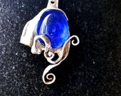 Silver fork pendant - royal blue glass