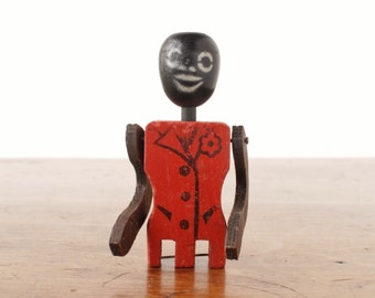 Vintage black dancing man wooden toy, limberjack jig doll, paddle puppet, red zoot suit, african americana folk art, AAFA, rustic primitive