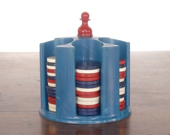 Vintage miniature poker chip carousel set, resin plastic or Bakelite, caddy, rack, gambling card game chips, red white blue, July 4th