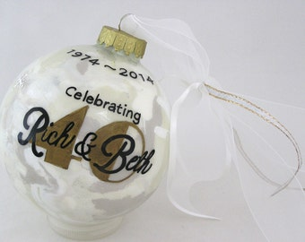 CELEBRATING 5, 10, 25, 50th ANNIVERSARY! PERSONALIZED Glass Christmas Ornament Keepsake Gift
