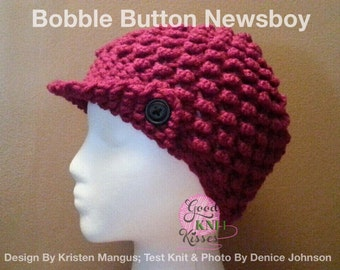 Loom Knit Bobble Hat Newsboy PATTERN. Bobble Button Newsboy pattern by GKK