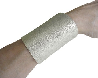 """Wide silver cuff - Leather Tattoo Cover - 3"""" Wide - Leather Cuff Women - Minimalist Fashion - Non Metal Jewelry  Leather Jewelry made to fit"""