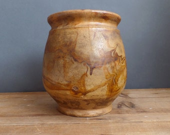 Old FRENCH confit pot traditional marble ocre glaze small size
