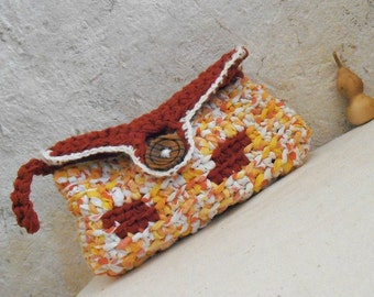 Orange delight - rag crochet clutch recycled fabric yarn with wooden button