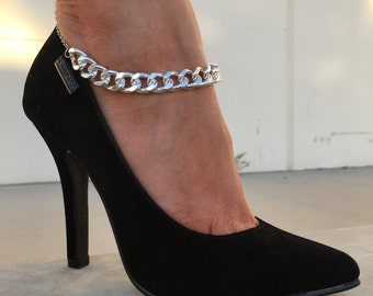 Silver Thick & Thin Chain Anklet