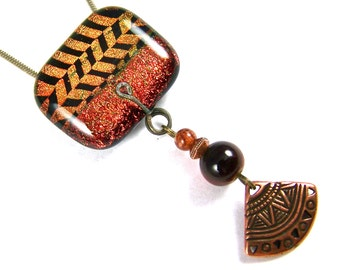 Dichroic Pin AND Pendant - Bright Copper Orange n Gold Yellow Chevron Stripes Fused Glass Tribal Shield Ethnic Dangle Charm Beaded Beads