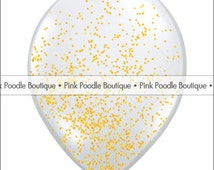 "12"" GLITTER FILLED Clear BALLOONS (1 pc) -- Metallic Gold"