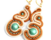 summer love - gold and teal - soutache earrings - free shipping
