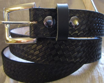 Customizable 1 1/2 inch, Basket Weave Design Leather Work or Casual Belt