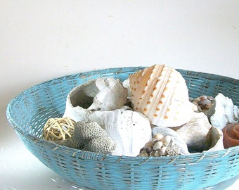 Vintage Brass Woven Basket / Beach House Blue
