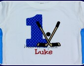 Hockey Birthday T Shirt or Bib Personalized Boys Embroidered Applique Any Number 1st 2nd 3rd 4th 5th