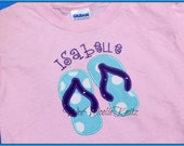Flip Flop Summer T Shirt Bib Girls Personalized Applique 1st 2nd 3rd Any Birthday Number or Letter