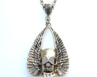 VALENTINE'S DAY Sale! From 20.00 to 12.99 Men's: Winged Skull w/Feather Design Bail Silver Toned Chain Necklace, Handmade Jewelry in NYC