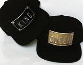 KING QUEEN metal plate embossed snapbacks hat kings queens snapback hats royalty cap caps dope
