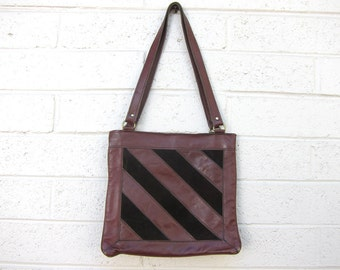 Vintage Oxblood Leather Brown Suede 70s Purse Stripes